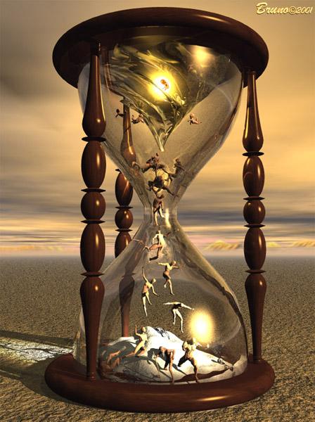 reloj de arena con arenas de oro