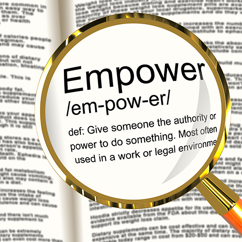 Empower Definition Magnifier Showing Authority Or Power Given To Do Something